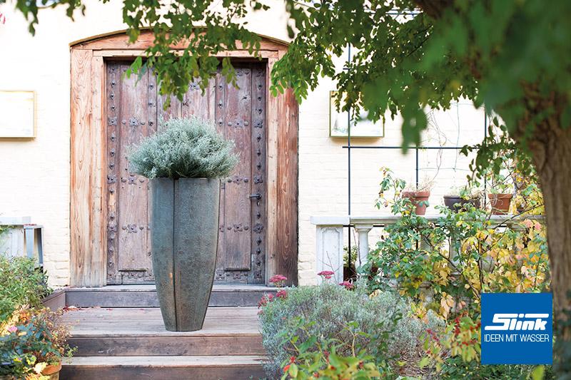 Pflanzgefäß Pflanzkübel Garten Bronze Optik Edel Vintage Patina Retro Design