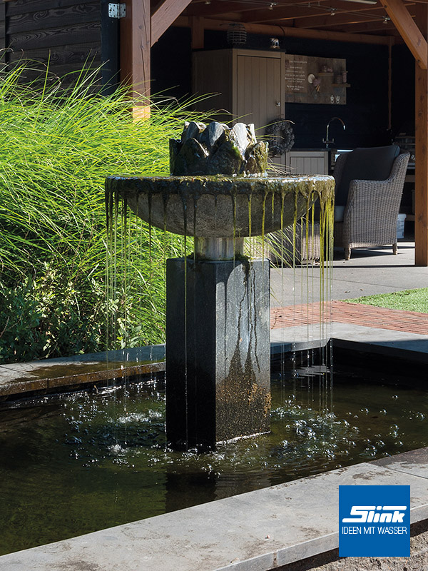 Gartenspringbrunnen Stein Brunnen Wasserschale Steinspringbrunnen für den Garten Säulenbrunnen Blütenform