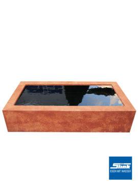 Quadratische Beckenumrandung Rostoptik für 100 x 100 x 35 cm