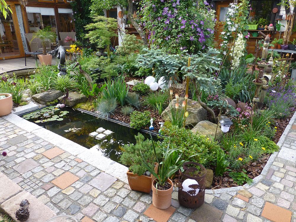 Glasfaser-Becken rechteckig Kunstgarten Wasser im Garten Ideen