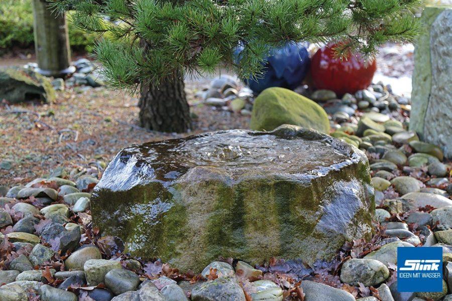 Steinbrunnen, Gartenbrunnen in Steinoptik, Vogeltränke, Quellstein