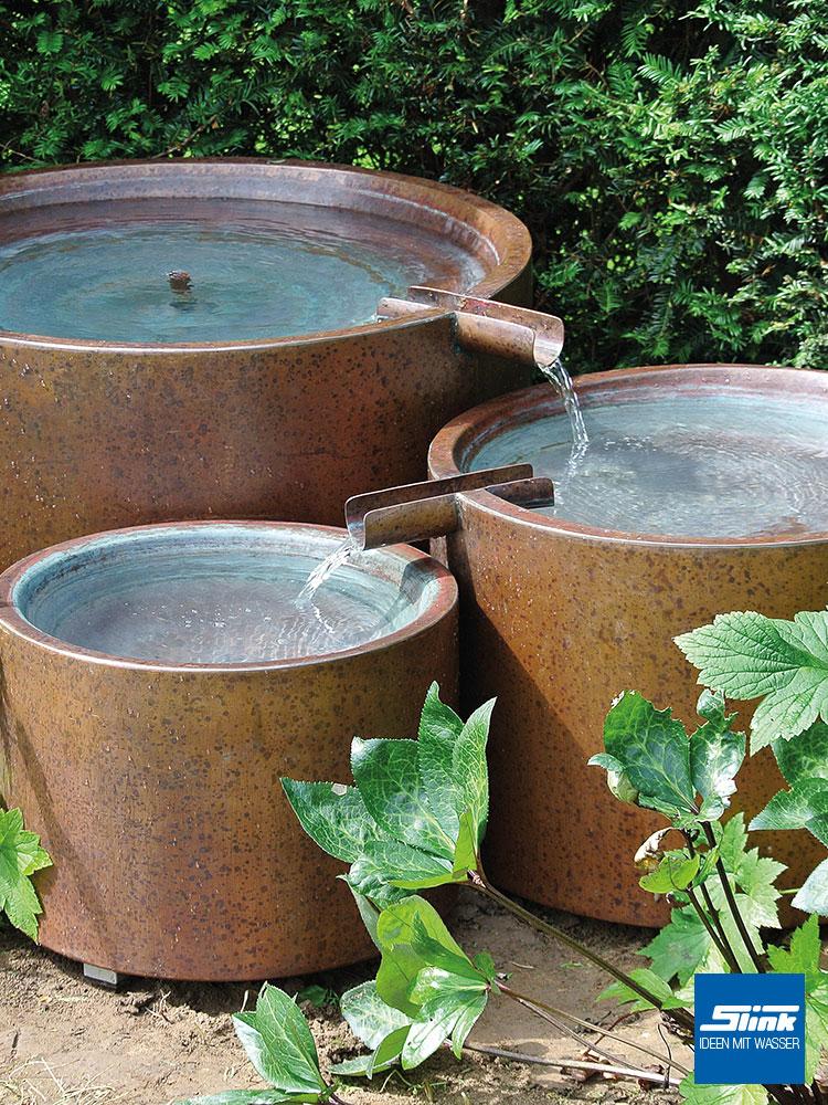 Kupferbrunnen Gartenbrunnen aus Kupfer für die Terrasse oder den Balkon, Moderner Brunnen aus Kupfer