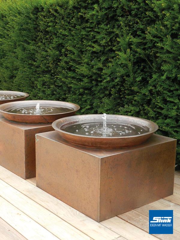 Kupferbrunnen, Garten Brunnen, Gartenspringbrunnen modern aus Kupfer, Wasserschale