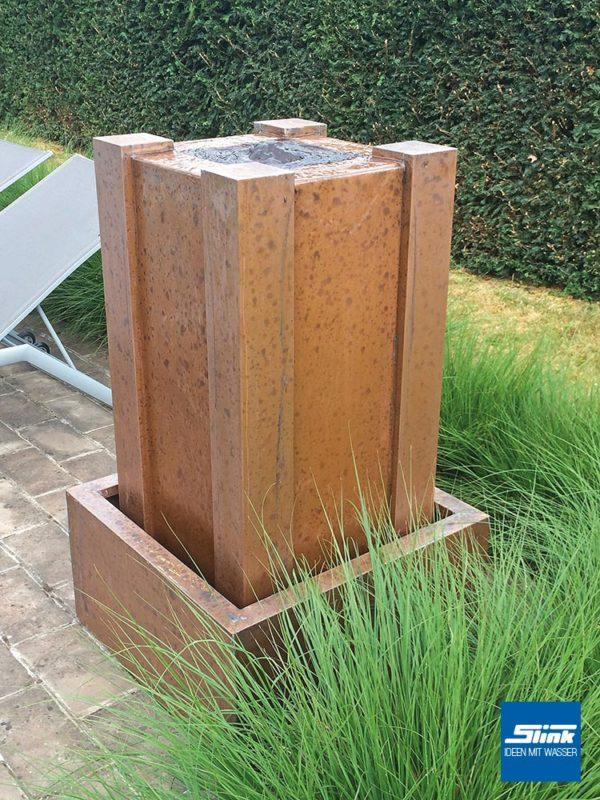 Kupferbrunnen, Gartenbrunnen, Wasserspiel aus Kupfer, Springbrunnen für Terrasse, Quellstein für Balkon und Garten