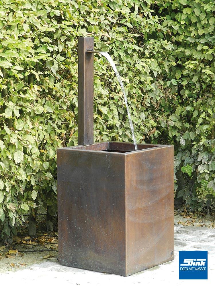 Kupfer standbrunnen slink ideen mit wasser - Garten wandbrunnen ...