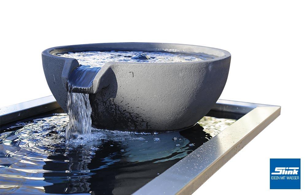 wasserfallschale cup mit formalem becken und