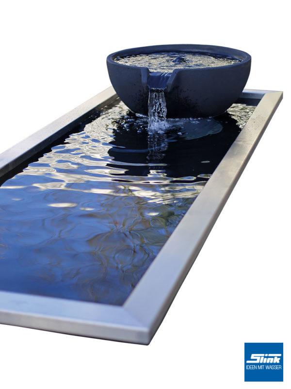 architektonisches Teichbecken, Wasserfall Wasserbecken, Gartenwasserfall, Reflecting Pool, Springbrunnen-System, modernes Design im Garten, Deko
