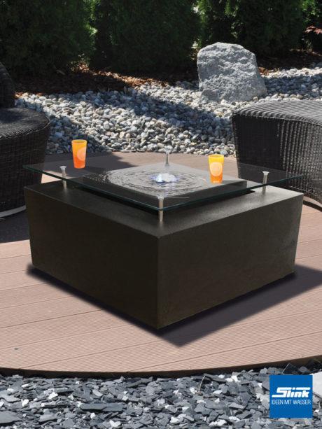 Wassertisch anthrazit, Terrassenbrunnen, Tisch und Wasserspiel, Ideen für die Terrasse, Design, moderne Brunnen, Gartenbrunnen kaufen