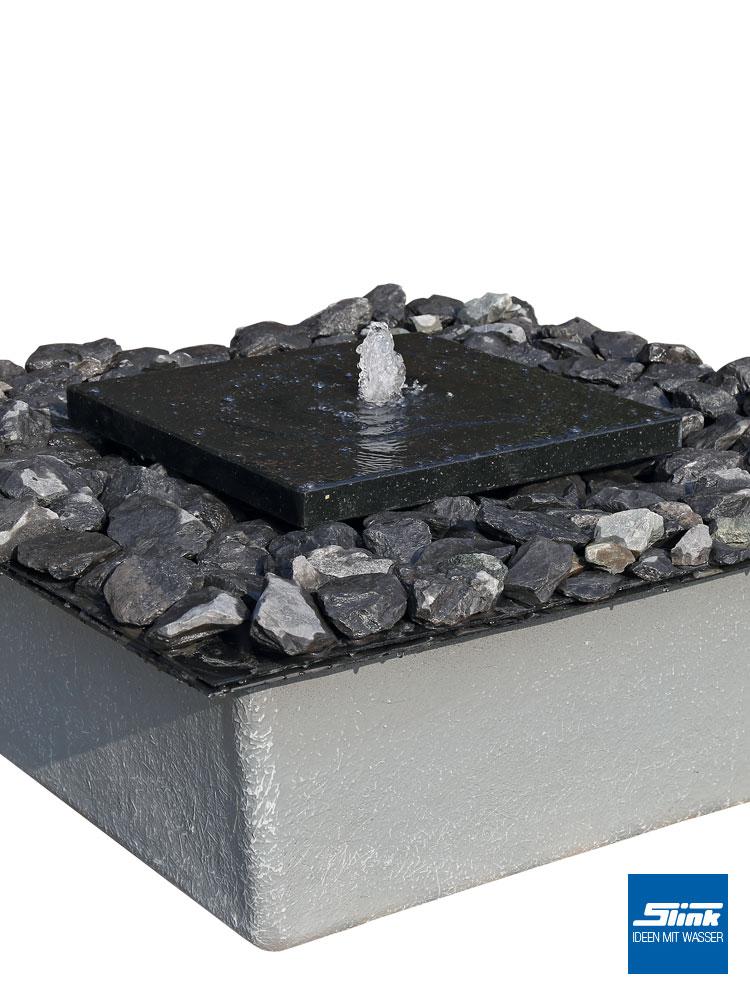 Gartenbrunnen Set, Granitbrunnen, Steinbrunnen, Wasserspiel, Steinplatte  Als Springbrunnen, Zierbrunnen Stein