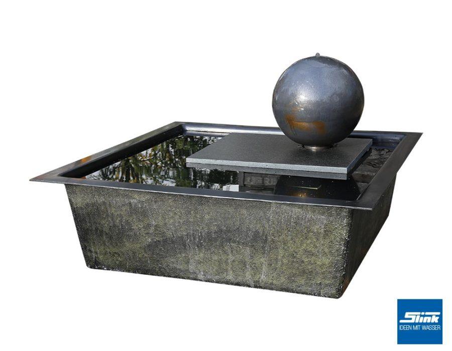 Kugelbrunnen, Brunnen Kugel Garten, Zimmerbrunnen, Terrassenbrunnen, Keramik, Gartenkunst, Formenspiel, Zierbrunnen, Wasserbecken, Teichbecken