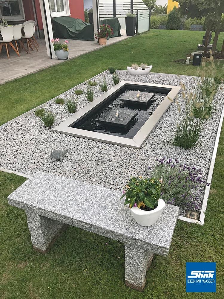 Steinplatten Gartenbrunnen, formales Wasserbecken, Teichbecken rechteckig, Gartendesign, Gartenidden, Gartenplanung, Gartenbrunnen
