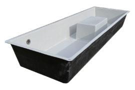GFK-Wasserbecken Sonderanfertigung mit Trittblock 300 x 100 x 40 cm RAL 7047 telegrau 4