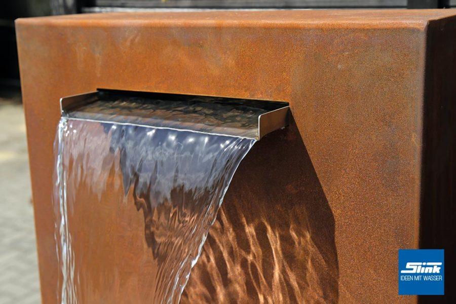 Cortenstahl-Wasserfall, Kortenstahl, Gartenbrunnen, Gartenwasserfall, Springbrunnen, Wandbrunnen, Standbrunnen Terrasse
