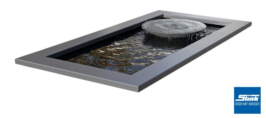 Gartenbrunnen Wasserschale grau architektonisches GFK-Becken lang, Idee Garten, Wasser, Teich