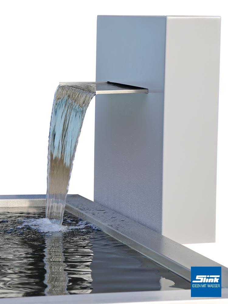 Gartenbrunnen Wasserfall, Designbrunnen., Wasserbecken GFK, rechteckiges Gartenbecken, Teichbecken formal