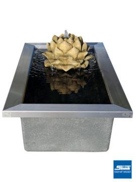 Gartenbrunnen Blütentraum mit formalem Becken und Edelstahlumrandung