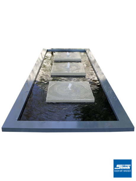 Quellplatte, Springbrunnen, Gartenbrunnen. Designerbrunnen, Terrassenbrunnen. Zierbrunnen Garten, Garten mit Wasser gestalten, Gartenideen Design