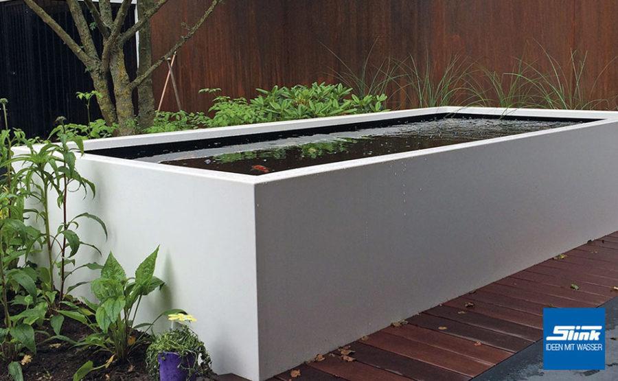 Hochteich Terrasse, Hochteich Garten, moderner Teich, Terrassenteich, Miniteich, Alu, Gartengestaltung Ideen