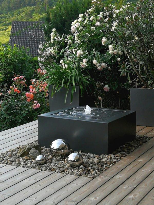 Wassertisch, Alubrunnen, Designerbrunnen, Zierbrunnen, Balkon-Brunnen, Terrassen-Brunnen, Metall, Dachterrasse