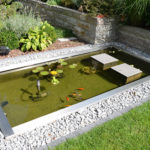 Teichbecken rechteckig, eckiges Wasserbecken, Garten Becken GFK, Fontäne, Springbrunnen