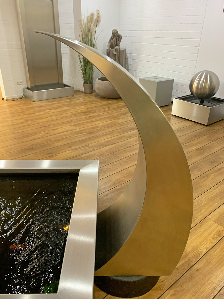 Edelstahl-Wasserfall Design Welle Garten Wasser Idee