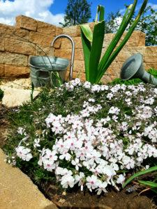 Edelstahl-Wasserauslauf gebogen als Gartenbrunnen