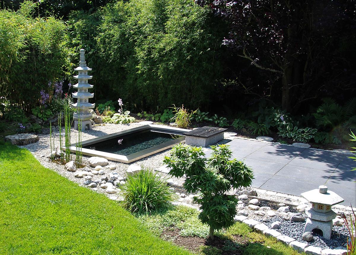 GFK-Wasserbecken rechteckig, Edelstahlrahmen, Rechteckecken, Gartengestaltung modern, japanisch