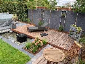 Gartenbrunnen, Wasserbecken, GFK, Terrassengestaltung, Sonnenliege, Ideen mit Wasser