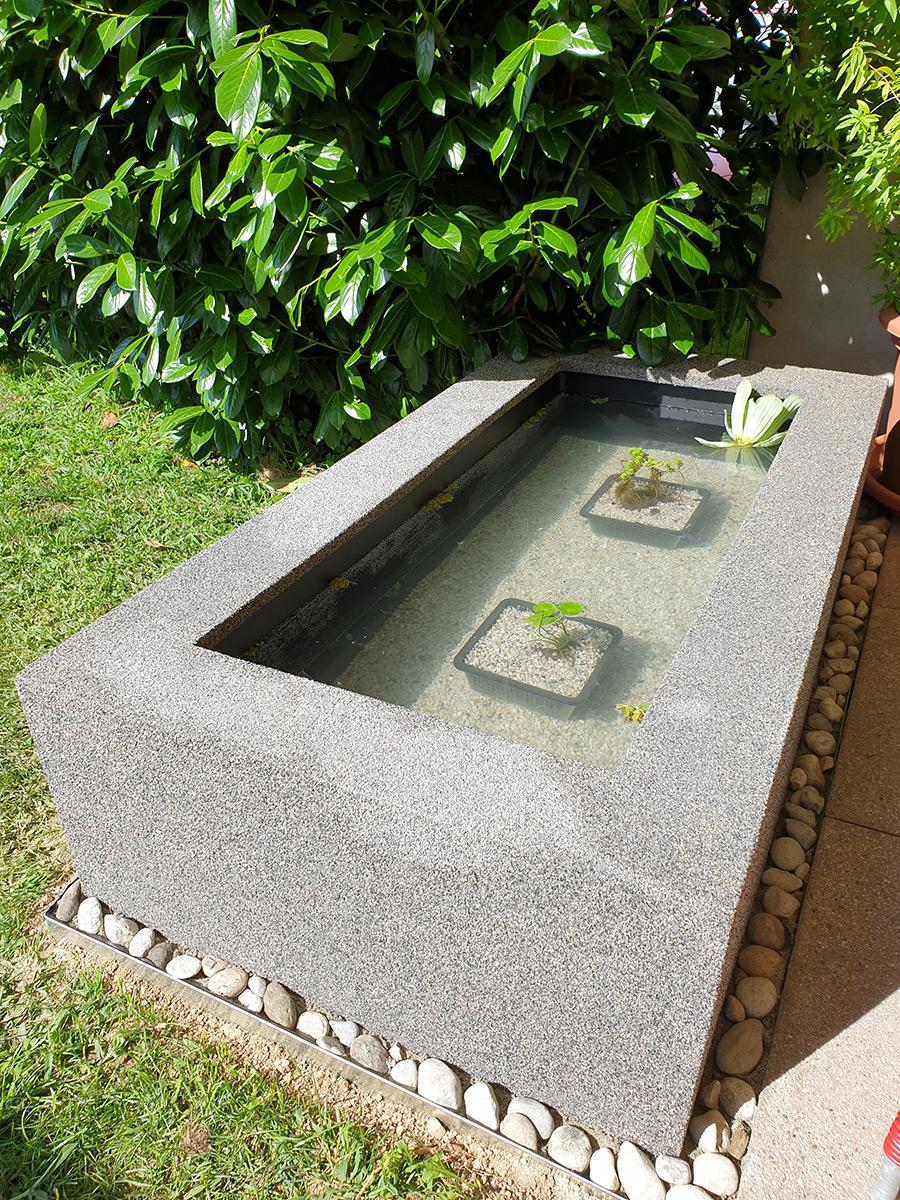 Teichbecken Umrandung, Granit, Hochteich, Wasserbecken, Hochbecken, rechteckig, Gartenideen, Wasserobjekt