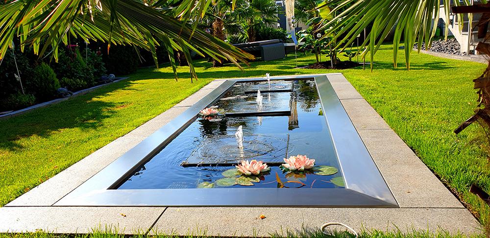 Gartenbrunnen Quellstein in GFK-Rechteckbecken Gartendesign