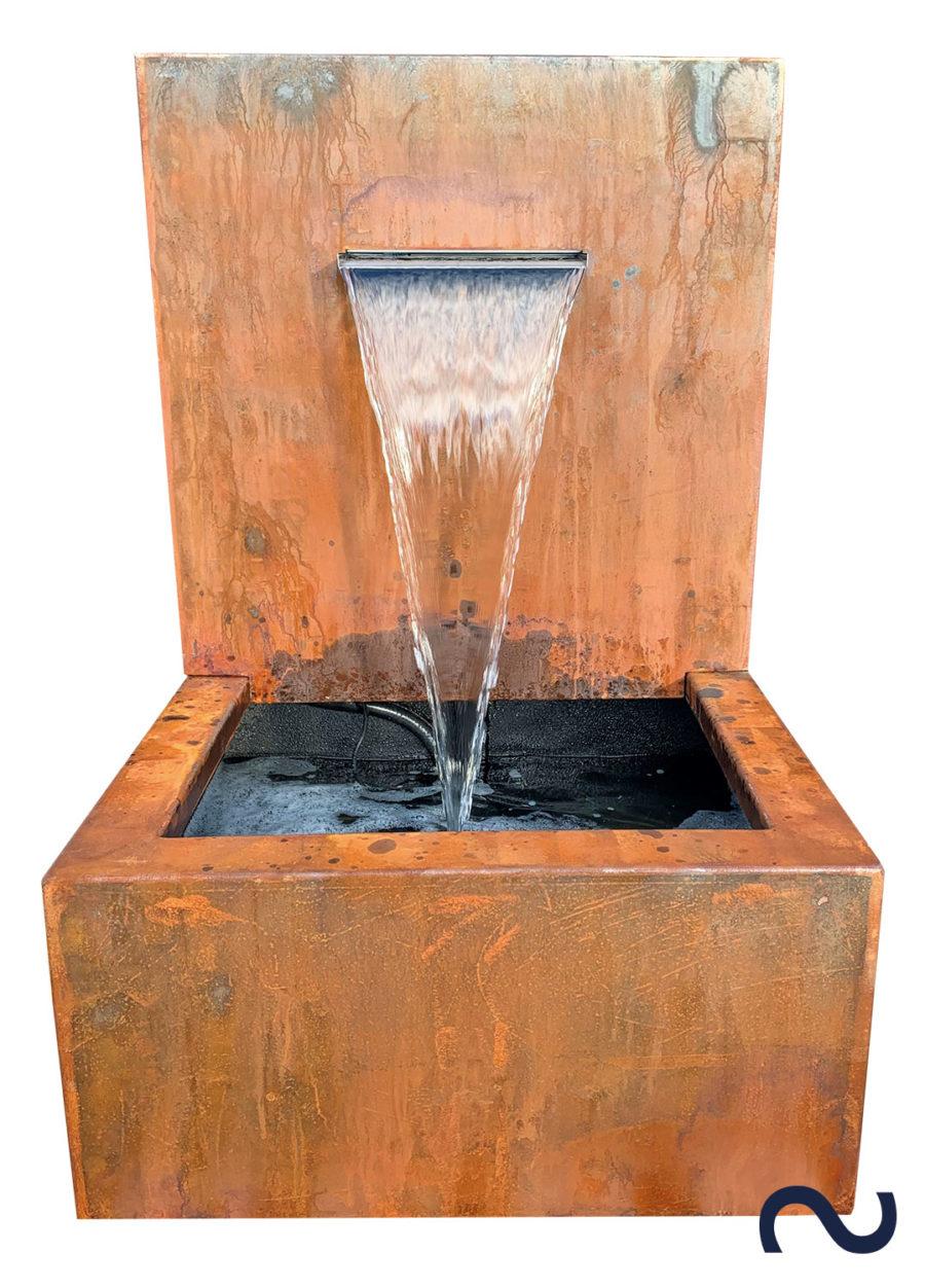 Slink Cortenstahl WasserfallWandbrunnen Gartendesign