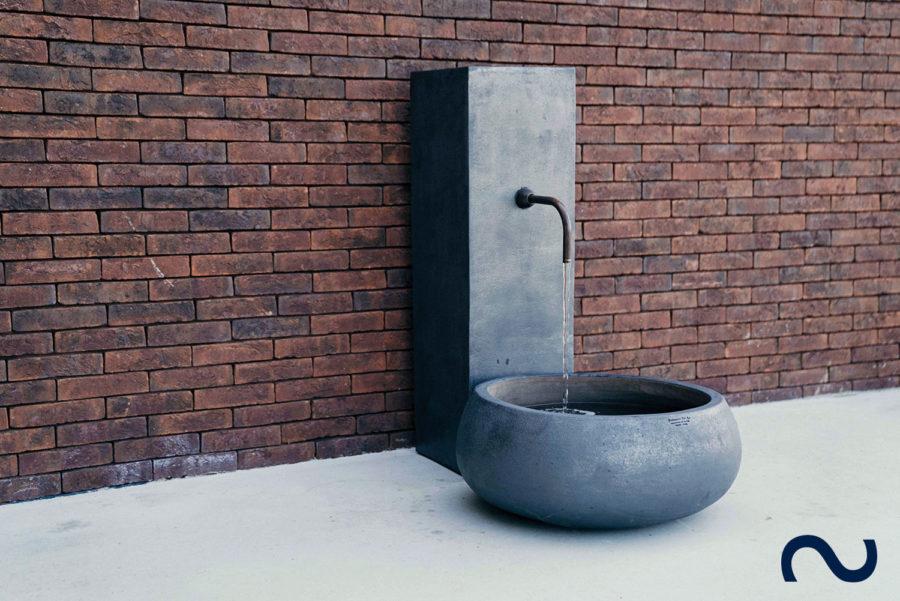 Slink Wasserfall Fontana Wasserobjekt deluxe Springbrunnen Keramik anthrazit