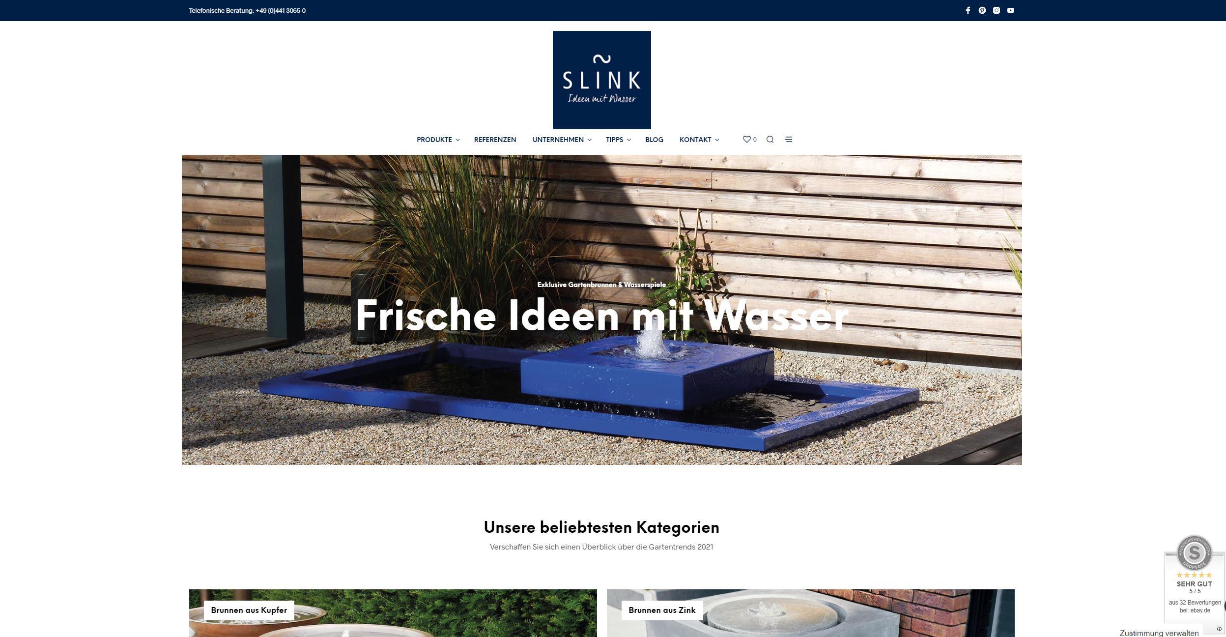 Slink Ideen mit Wasser Desktop PC Homepage